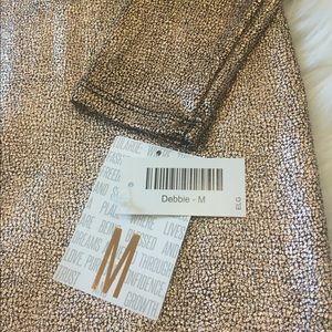 NWT beautiful stretch long sleeve gold dress